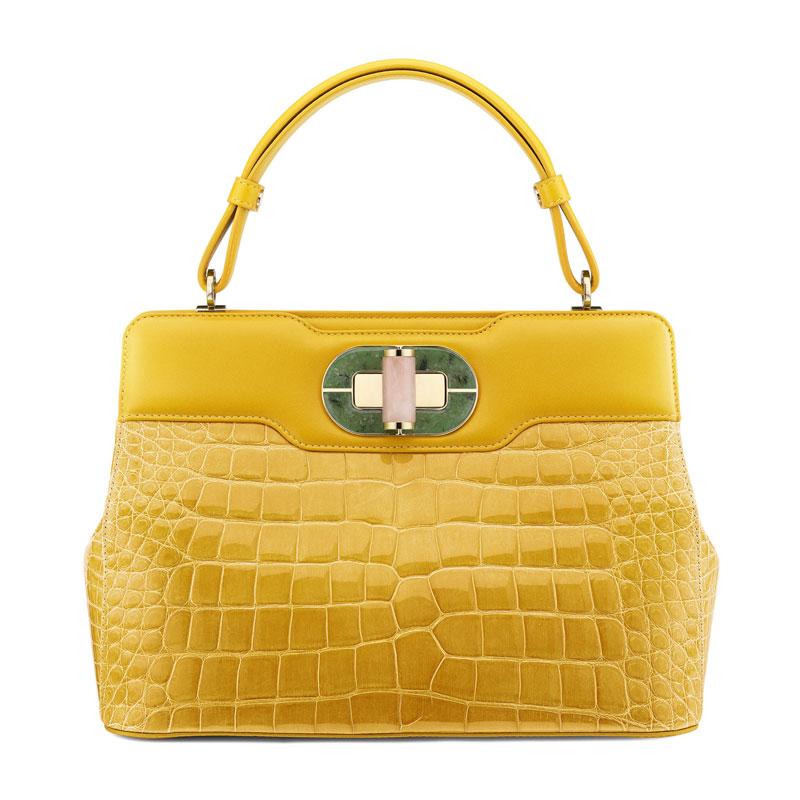 小苍兰黄色漆光鳄鱼皮手袋